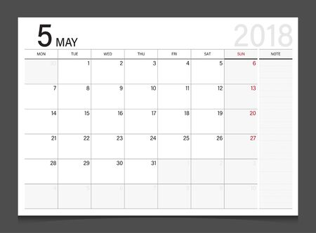 new years: Calendar 2018 May week start on Monday corporate design template vector.