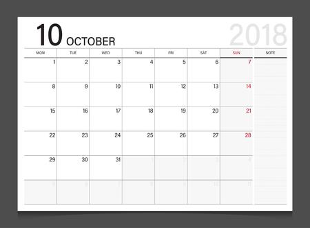 modern office: Calendar 2018 October week start on Monday corporate design template vector.