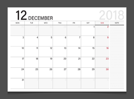 modern office: Calendar 2018 December week start on Monday corporate design template vector. Illustration