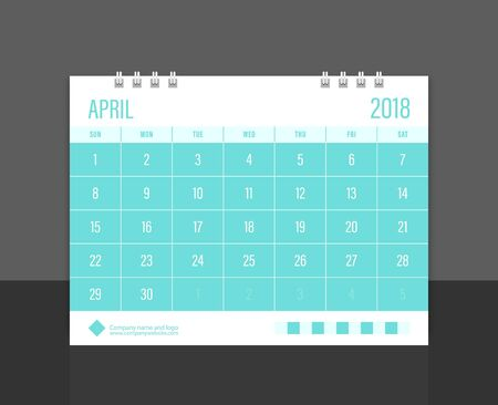 calendar design: Calendar 2018 April week start on Sunday corporate design template vector.
