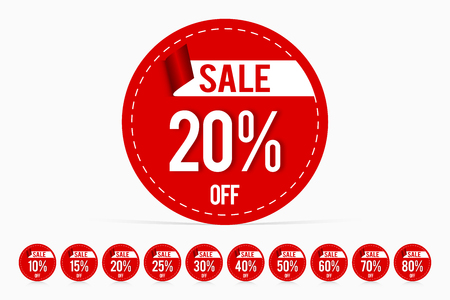 Price tag promotion sale template discount label set 20% off; 10% off; 15% off; 25% off; 30% off; 40% off; 50% off; 60% off; 70% off; 80% off.