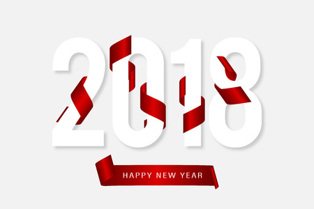 2018 happy new year and red ribbon stock vector 89587853