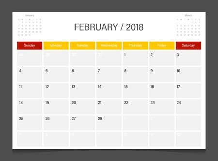 Calendário 2018 Semana De Fevereiro Começa No Domingo Vetor De Modelo De Design Corporativo