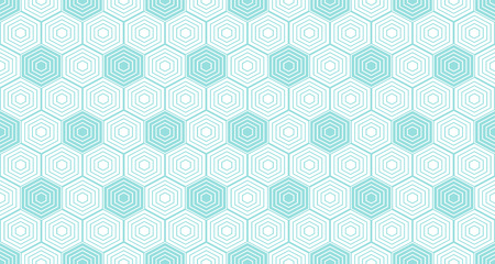 Backgrounds pattern seamless geometric white hexagon abstract and green aqua line vector design. Pastel color background.