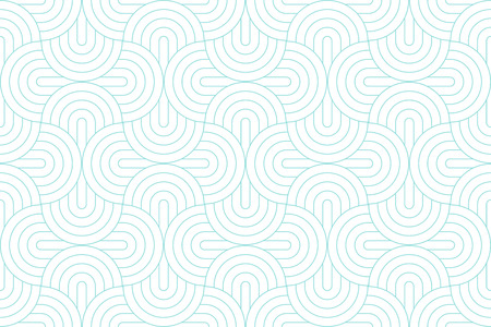 Achtergronden patroon naadloze geometrische witte cirkel abstract en groen aqua lijn vector design. Pastel kleur achtergrond.