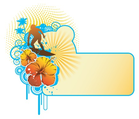 surfer silhouette: retro label with hibiscus, palms and surfer silhouette Illustration
