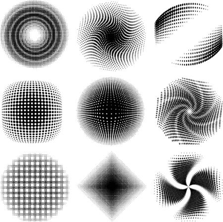 halftone: design elements - nine radial halftone-patterns Illustration