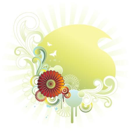 pastel floral emblem Vector