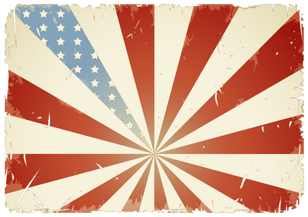 retrogrunge-styled american flag background (white grungeframe can be removed) Vector