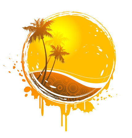 palmtrees: retro Sun-splash emblema  Vectores