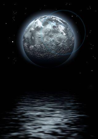 reflexion: Luna y reflexi�n en la oscuridad del agua, creado digitalmente la imagen  Foto de archivo