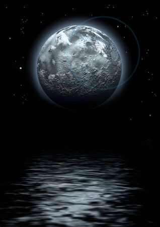 starwars: moon and reflexion in dark water, digitally created image Stock Photo