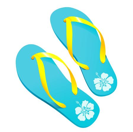 illustration vectorielle d'une paire de couleurs flipflops  sandales de plage avec hibiscus mod�le  Illustration