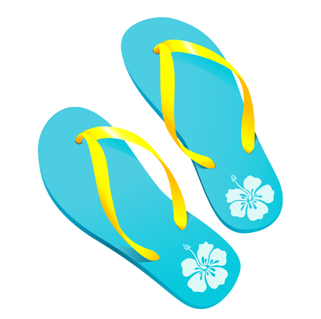 flipflops: vector illustration of a pair of colorful flipflopsbeach sandals with hibiscus pattern