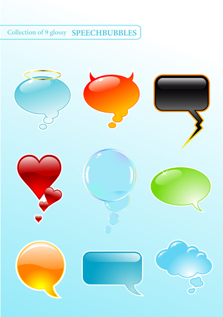 collection of nine glossy speech-bubbles in different styles Vector