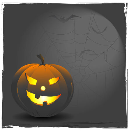 gloomy: halloween-background with pumpkin, cob-web and flying bats