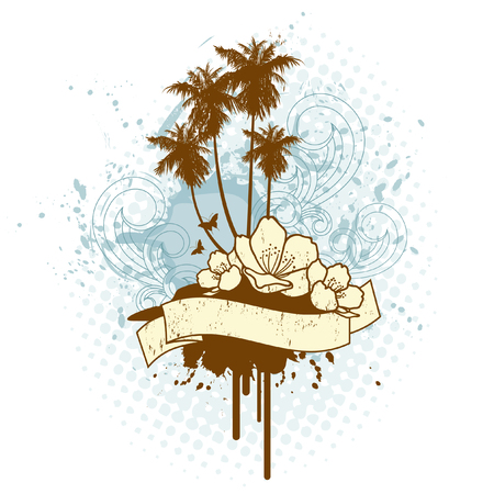 retro tropical island ilustration with banner for your text Stock Vector - 3358469