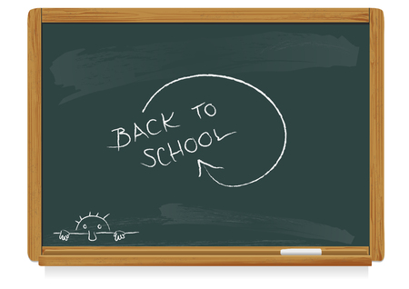 realistic vector illustration of a classic blackboard with chalk and scribbles Stock Vector - 3373092