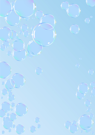 blue soap bubbles background Vector