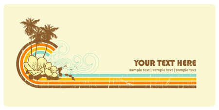 palmtrees: grungy retro-banner with palmtrees, swirls and floral elements Illustration