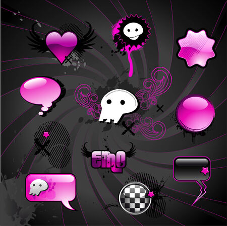 emo-styled design elements Illustration
