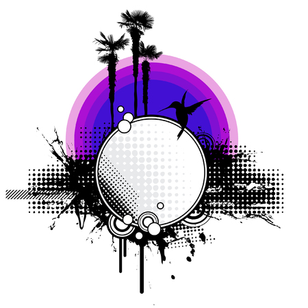 grungy tropical sunset Vector