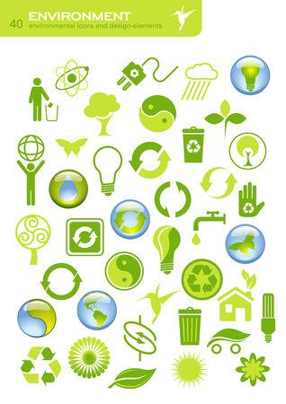 collection de 40 ic�nes de l'environnement