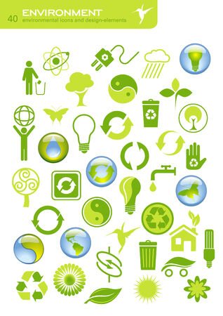 40: collection of 40 environmental icons