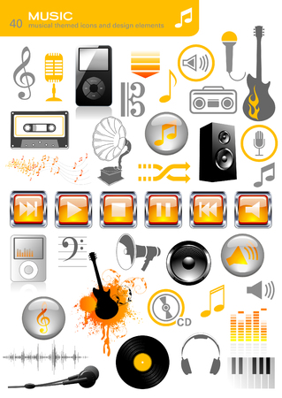 boombox: set of 40 music and sound related icons and design elements