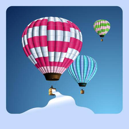 aeronautical: lollipop-colored balloons with banner
