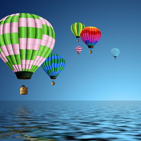 group of colorful hot air balloons flying over the ocean photo