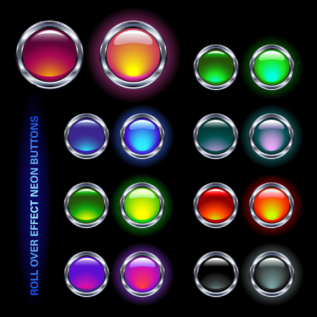 neon-colored glass buttons for rollover-effects (offon) Vector