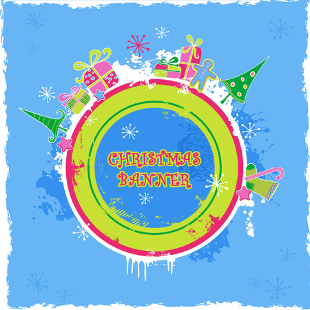 cute candy-colored christmas banner Vector
