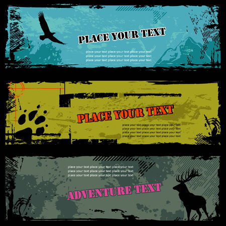 set of three grungy wildlife banners Stock Vector - 3800128