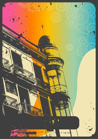 barcelona: retro romantic urban background with rainbow flow