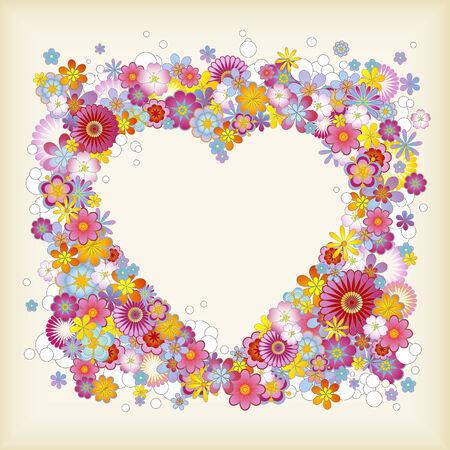 ハート形の花のフレーム  イラスト・ベクター素材