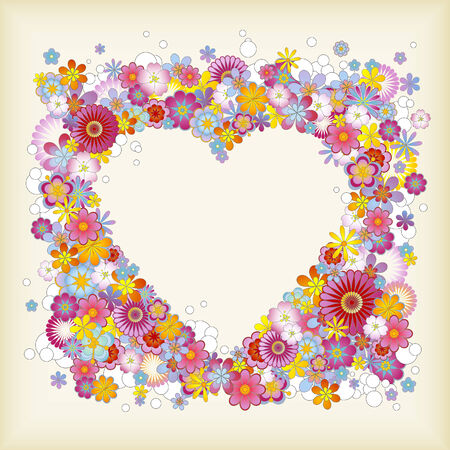 En forma de corazón floral marco Foto de archivo - 3958359