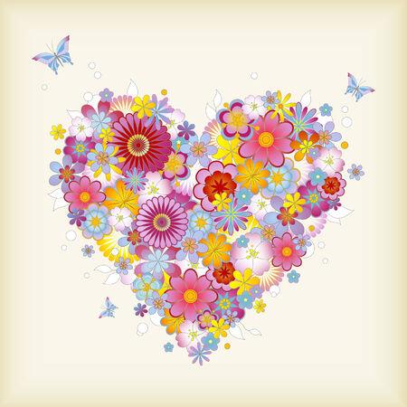 coeur floral avec des papillons