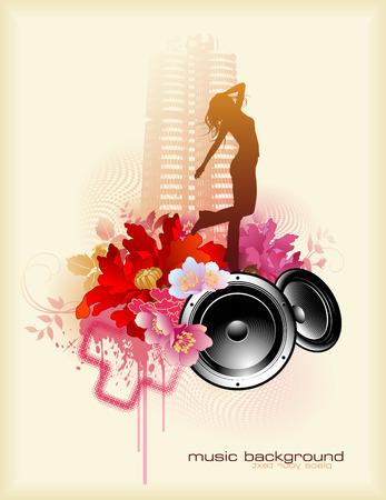 li�s � la musique avec des haut-parleurs �l�ment de design et de la danse fille
