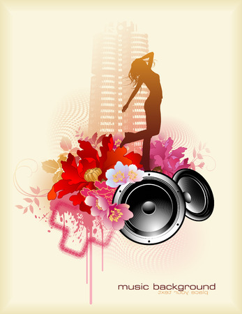 music-related design element with speakers and dancing girl Vector