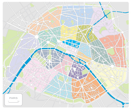 map of ParisFrance Vector