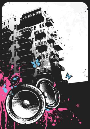circundante: urban party-flyer template Ilustra��o