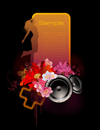 colorful music-banner with speakers and dancing girl Vector