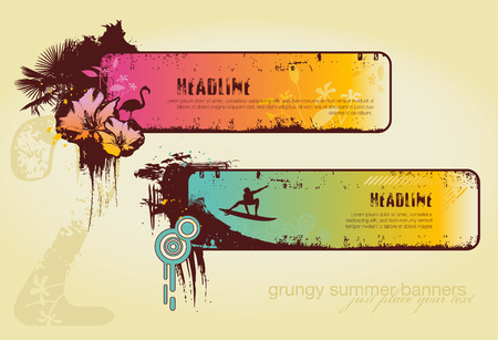 set of two grungy summer-banners Vector