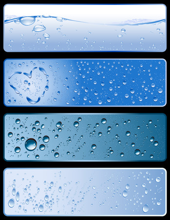 dewdrops: collection of four different fresh water-textures