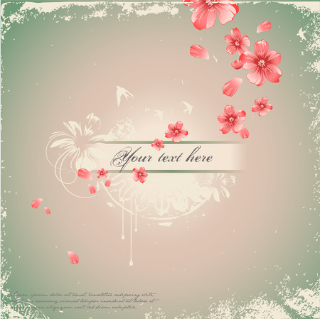 love birds: romantic floral background