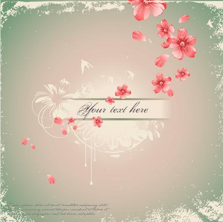 swallow: romantische florale achtergrond Stock Illustratie