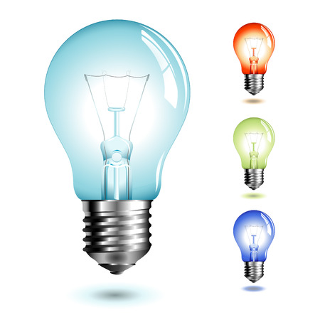 realistic illustration of a lightbulb in four different color versions Vector