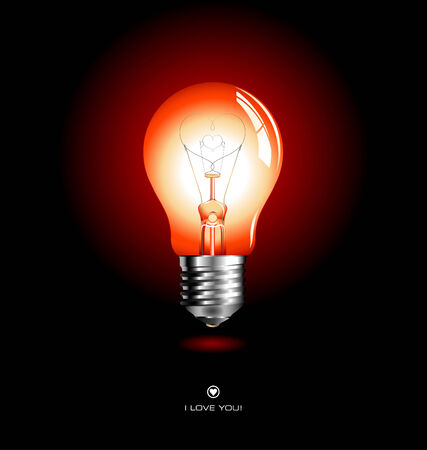 red lightbulb with heart-shaped filament Vector