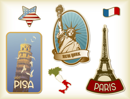 sightseeings: collection of suitcase-labels Illustration